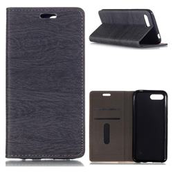 Tree Bark Pattern Automatic suction Leather Wallet Case for Huawei Honor 10 - Gray