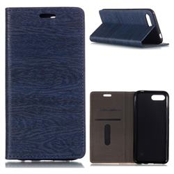 Tree Bark Pattern Automatic suction Leather Wallet Case for Huawei Honor 10 - Blue