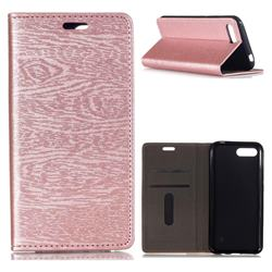 Tree Bark Pattern Automatic suction Leather Wallet Case for Huawei Honor 10 - Rose Gold