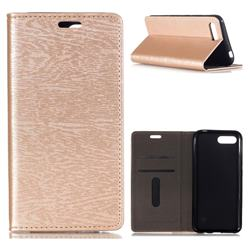 Tree Bark Pattern Automatic suction Leather Wallet Case for Huawei Honor 10 - Champagne Gold