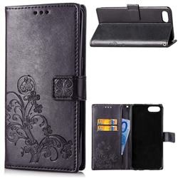 Embossing Imprint Four-Leaf Clover Leather Wallet Case for Huawei Honor 10 - Black