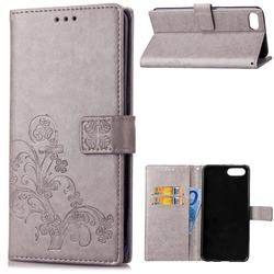 Embossing Imprint Four-Leaf Clover Leather Wallet Case for Huawei Honor 10 - Grey