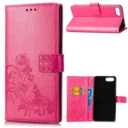 Embossing Imprint Four-Leaf Clover Leather Wallet Case for Huawei Honor 10 - Rose