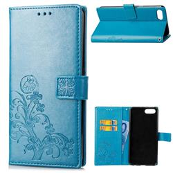 Embossing Imprint Four-Leaf Clover Leather Wallet Case for Huawei Honor 10 - Blue