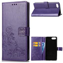 Embossing Imprint Four-Leaf Clover Leather Wallet Case for Huawei Honor 10 - Purple