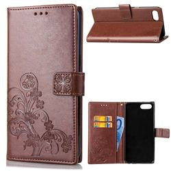 Embossing Imprint Four-Leaf Clover Leather Wallet Case for Huawei Honor 10 - Brown
