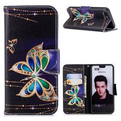 Golden Shining Butterfly Leather Wallet Case for Huawei Honor 10