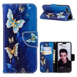 Golden Butterflies Leather Wallet Case for Huawei Honor 10
