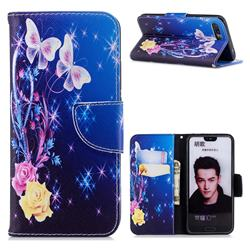 Yellow Flower Butterfly Leather Wallet Case for Huawei Honor 10