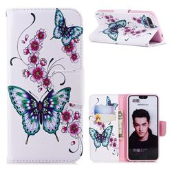 Peach Butterflies Leather Wallet Case for Huawei Honor 10