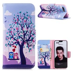 Tree and Owls Leather Wallet Case for Huawei Honor 10
