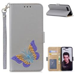 Imprint Embossing Butterfly Leather Wallet Case for Huawei Honor 10 - Grey