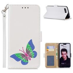 Imprint Embossing Butterfly Leather Wallet Case for Huawei Honor 10 - White
