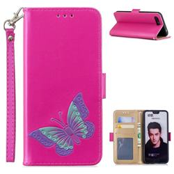 Imprint Embossing Butterfly Leather Wallet Case for Huawei Honor 10 - Rose Red