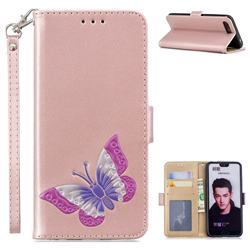Imprint Embossing Butterfly Leather Wallet Case for Huawei Honor 10 - Rose Gold
