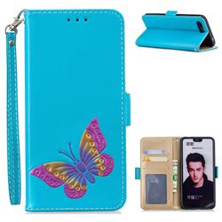 Imprint Embossing Butterfly Leather Wallet Case for Huawei Honor 10 - Sky Blue