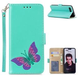 Imprint Embossing Butterfly Leather Wallet Case for Huawei Honor 10 - Mint Green