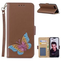 Imprint Embossing Butterfly Leather Wallet Case for Huawei Honor 10 - Brown