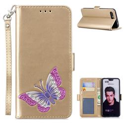 Imprint Embossing Butterfly Leather Wallet Case for Huawei Honor 10 - Golden