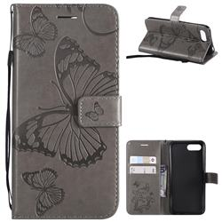 Embossing 3D Butterfly Leather Wallet Case for Huawei Honor 10 - Gray