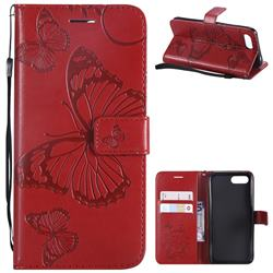 Embossing 3D Butterfly Leather Wallet Case for Huawei Honor 10 - Red