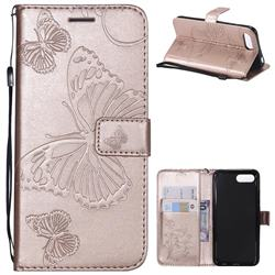 Embossing 3D Butterfly Leather Wallet Case for Huawei Honor 10 - Rose Gold