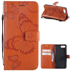 Embossing 3D Butterfly Leather Wallet Case for Huawei Honor 10 - Orange