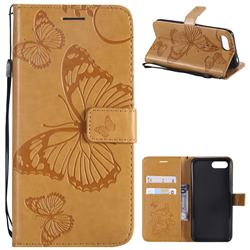 Embossing 3D Butterfly Leather Wallet Case for Huawei Honor 10 - Yellow