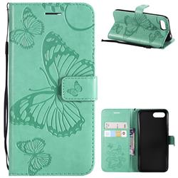 Embossing 3D Butterfly Leather Wallet Case for Huawei Honor 10 - Green