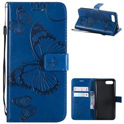 Embossing 3D Butterfly Leather Wallet Case for Huawei Honor 10 - Blue