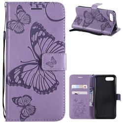 Embossing 3D Butterfly Leather Wallet Case for Huawei Honor 10 - Purple