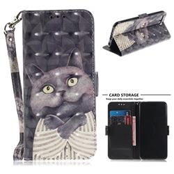 Cat Embrace 3D Painted Leather Wallet Phone Case for Huawei Honor 10