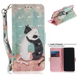 Black and White Cat 3D Painted Leather Wallet Phone Case for Huawei Honor 10