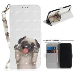 Pug Dog 3D Painted Leather Wallet Phone Case for Huawei Honor 10