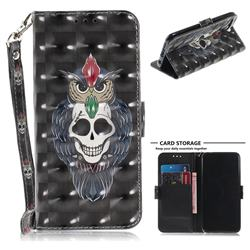 Skull Cat 3D Painted Leather Wallet Phone Case for Huawei Honor 10