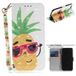 Pineapple Glasses 3D Painted Leather Wallet Phone Case for Huawei Honor 10