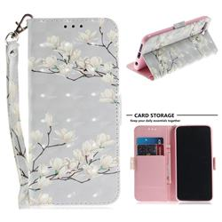 Magnolia Flower 3D Painted Leather Wallet Phone Case for Huawei Honor 10