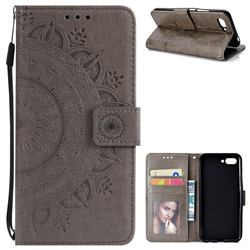 Intricate Embossing Datura Leather Wallet Case for Huawei Honor 10 - Gray
