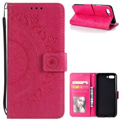 Intricate Embossing Datura Leather Wallet Case for Huawei Honor 10 - Rose Red