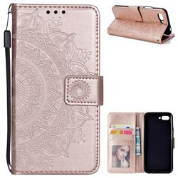 Intricate Embossing Datura Leather Wallet Case for Huawei Honor 10 - Rose Gold