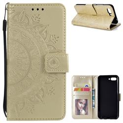 Intricate Embossing Datura Leather Wallet Case for Huawei Honor 10 - Golden