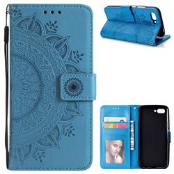 Intricate Embossing Datura Leather Wallet Case for Huawei Honor 10 - Blue