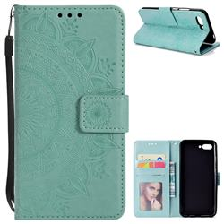 Intricate Embossing Datura Leather Wallet Case for Huawei Honor 10 - Mint Green