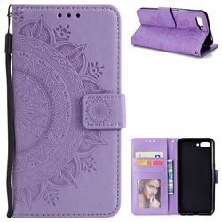 Intricate Embossing Datura Leather Wallet Case for Huawei Honor 10 - Purple