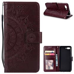 Intricate Embossing Datura Leather Wallet Case for Huawei Honor 10 - Brown