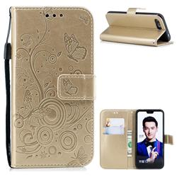 Intricate Embossing Butterfly Circle Leather Wallet Case for Huawei Honor 10 - Champagne