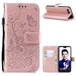 Intricate Embossing Butterfly Circle Leather Wallet Case for Huawei Honor 10 - Rose Gold