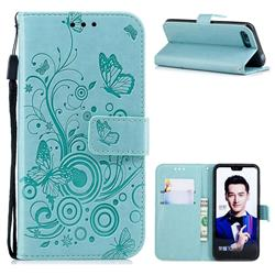 Intricate Embossing Butterfly Circle Leather Wallet Case for Huawei Honor 10 - Cyan