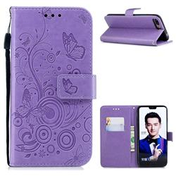 Intricate Embossing Butterfly Circle Leather Wallet Case for Huawei Honor 10 - Purple