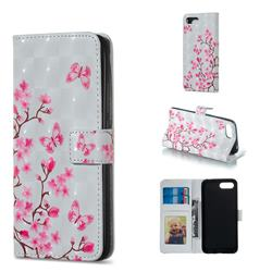 Butterfly Sakura Flower 3D Painted Leather Phone Wallet Case for Huawei Honor 10